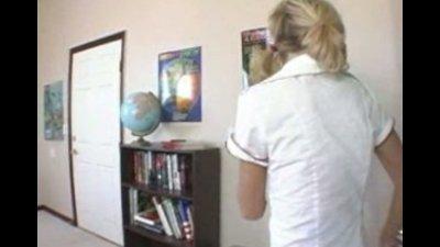 Nice Nerdy blonde schoolgirl gets fucked all around classroom