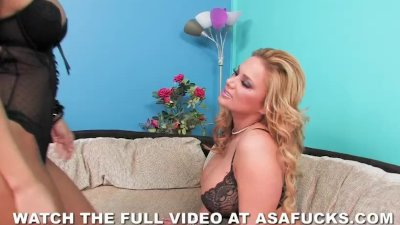 Asian Girl Lesbian video: Asa Akira Fucks Shyla Stylez with a Huge Dildo