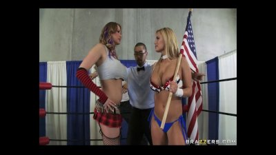 Big Titted Pornstars Shyla and Alanah battle in the ring for the BWF Slut title