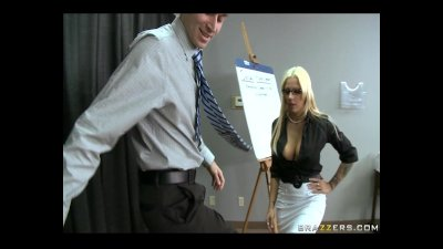 Busty blonde HR rep gives an employee a private lesson in sexual conduct