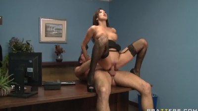 Big tit brunette babe wears lingerie and fucks in office.