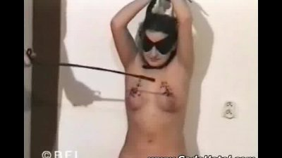 Tits punished with candlewax