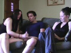Girlfriend handjobs her boyfriend s cock while her friend watches