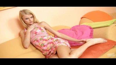Skinny blond teen Kate hard dildo fuck