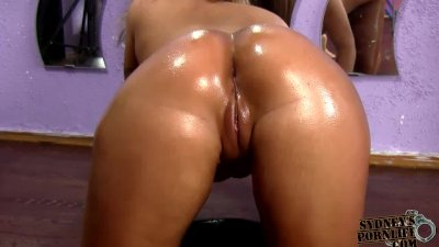 CURVY GIRLFRIEND GETS FUCKED HER OILED SEXY ASS