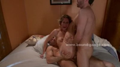Slut humiliated in violent double penetrations and rough gangbang