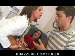 Big tit brunette doctor has anal threesome with husband and wife