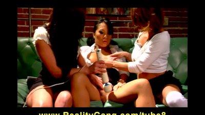 Asian Pornstar Asa Akira teased by horny brunette schoolgirl sluts