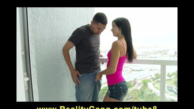 Skinny brunette girlfriend Mandy Sky is fucked on hotel balcony