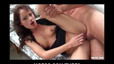 Horny young slut Sophie Lynx strips off her dress and takes bigd