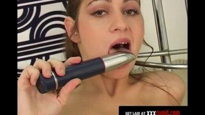 Brunette's Vibrator Makes Her Moan