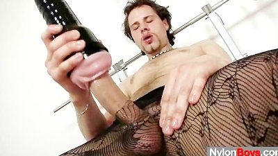 Naughty big dick male wears fancy pantyhose