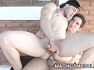 Muscle studs Arcanjo Amaro and Felix Stulbach having fuck session outdoors