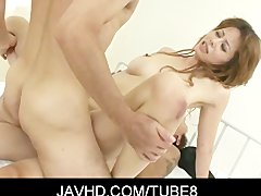 Sexy Japanese chick Moe Aizawa get her hole double penetrated