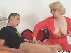: Mother in law fucks him and his wife comes in