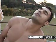 Muscle Dudes Poax Hoffin and Marcelo Martins Sizzling Outdoor Sex