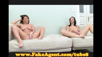 FakeAgent Pole dancing girls fuck for fun in casting