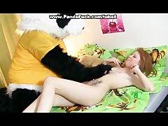 Redhead pervert fucked with teddy bear