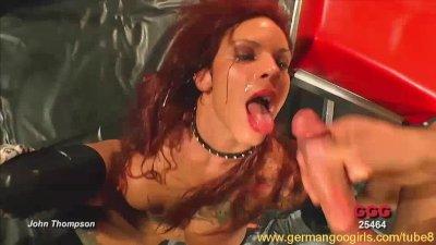 Redhead chick going wild in bukkake orgy