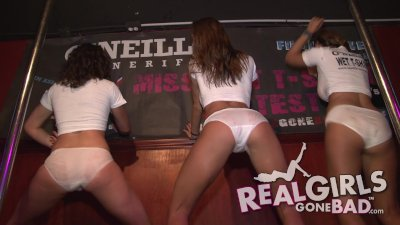 drunken sexy college girls strip naked on stage during wet t shirt contest