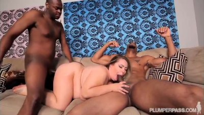 Sexy BBW Hillary Hooterz Fucked and Used By 2 Big Black Cocks