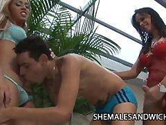 Sabrina Alves And La Belle Sandorran   Two Shemales Bangin A Handsome Guy