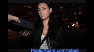 PublicAgent Dark haired stunner fucks for free phone