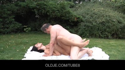 Young brunette tricks and fucks old man