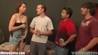 WhiteGhetto Sex Addict Brunette in Gangbang