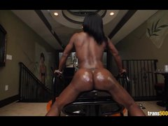 Big Booty Black Tranny Strokes Her Huge Cock for You