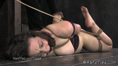 Brunette Foot Tortured in a Hogtie