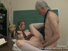 Slutty Young RedHead Will Do Anything To Pass Class And Fucks Old Teacher