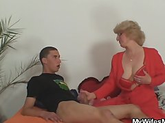 Mom in law rides him and wife comes in