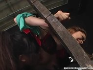 Japanese Sex Slave In Stocks Dominated By FemDom With Fucking Machines