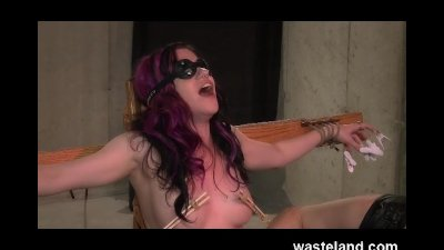 Pretty BDSM Submissive Blindfolded, Tied And Punished By Dungeon Master