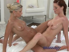 Massage Rooms Freckled redhead spread on table before big squirt