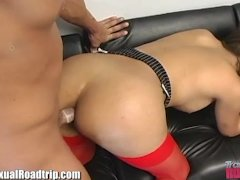 TSRoadtrip Mexican Tranny Cums in Guys Mouth