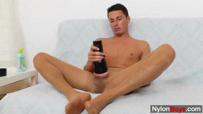 Gay guy masturbates in nylon pantyhose
