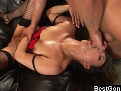 Asian Slut Gets Fucked On A Leather Couch