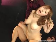 Cute Japanese sex slave made to orgasm by her FemDom and MaleDom Masters