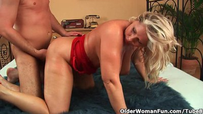 Older woman with natural big tits gets fucked