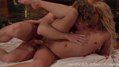 Romantic couple fuck by the fire