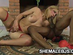 Bianca Andrade   Beautiful Latina Shemale Blowing A Dick