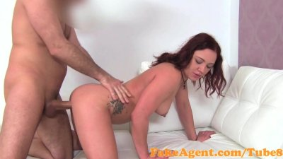 FakeAgent Busty red head fucks for a job in Casting