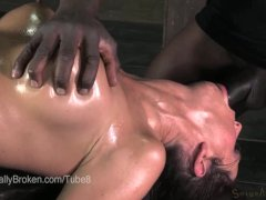 MILF Cici Rhodes Face Fucked on top of a Box in Bondage