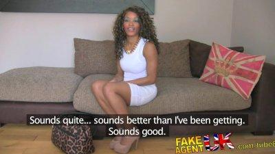 FakeAgentUK Fake interview sees sexy ebony chick get cum splattered