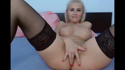 Hot Busty Blonde Babe Rubs and Finger Fucks Wet Pussy