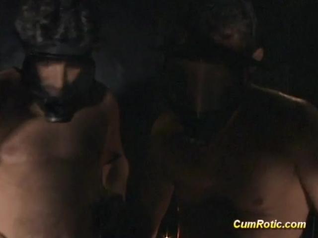Slut gets cum in BDSM action