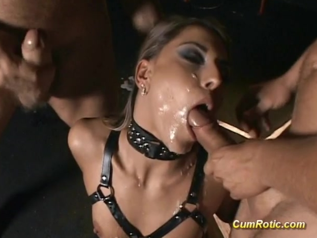 Slut gets cum in BDSM action