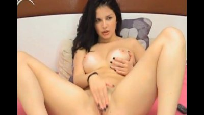 Busty Latina Fingers her Tight Shaved Pussy